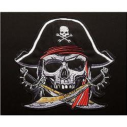 Pegatina parche bordado termoadhesivo calavera pirata super guay para cazadoras camisetas, jerseys, sudaderas, mochilas..24 x 22 cm SOLO QUEDAN 2 UNIDS POR FAVOR PREGUNTAR EXISTENCIAS ANTES DE COMPRAR de CHIPYHOME