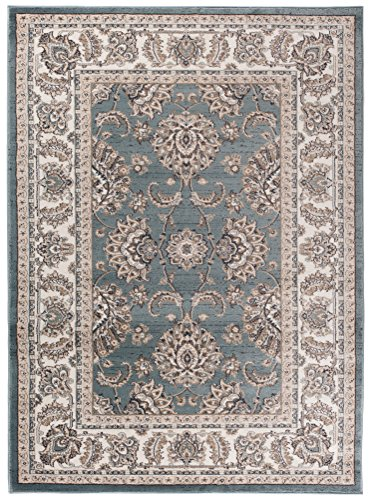 Creme Grüne Rechteck Teppich (Traditioneller Klassischer Teppich für Ihre Wohnzimmer - Dunkel Grün Creme - Perser Orientalisches Muster - Ferahan-Ziegler Ornamente - Top Qualität Pflegeleicht