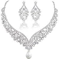 EVER FAITH-Collana Orecchini Donna Parure Gioielli Forma V di Elegante con Cristallo austriaca,Una Confezione Regalo