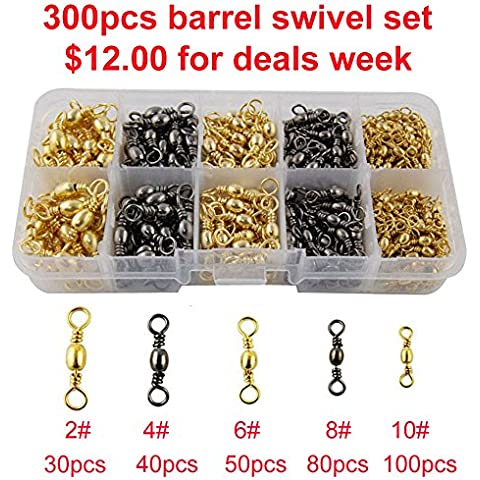 Easy Catch 300pcs/box Fishing Barrel Swivel 100% Copper Extra Strong Ball Bearing Fishing Swivels Accessories Tackle Kit-Size 2 4 6 8 10 by JL Sport