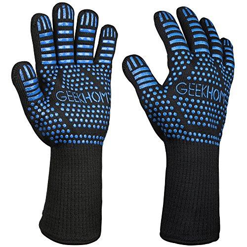 GEEKHOM Ofenhandschuhe, Ofenhandschuhe, 33 cm Kevlar-Handschuhe, hitzebeständig bis 500 ℃, Ofenhandschuhe, Grill, Braten, Steak, Panillada - Farbe Blau, 1 Paar