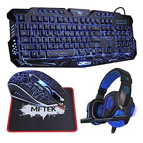 Gaming Tastatur und Maus Set with Gaming Headset, MFTEK Gaming Tastaturen (US Layout, 3 Farben, USB) + Gaming Mouse (4 Farben, USB) + Gaming Headphone Kopfhörer + Professional Gaming Mousepad für PC