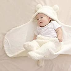BRANDONN Baby's 3 in 1 Blanket/Safety Bag/Sleeping Bag, Hood to Toe 30 Inches (Off-white)