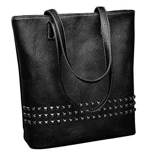 Blaue Nieten-handtasche (Damen Nieten Handtasche, Schultertaschen Top-Griff Taschen Taschen für Mädchen (Black))
