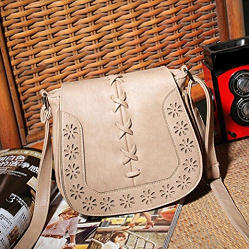 Honeymall Borsa Cuoio a tracolla Marrone woven Borsa a Mano Tracolla in pelle stile vintage Marrone Cammello Cammello