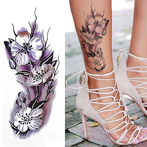 COKOHAPPY Temporäre Tattoo Aquarellfarben Blume