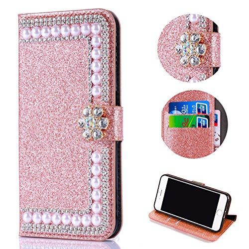 Shinyzone Huawei P20 Glitzer Brieftasche Hülle,3D Blume Diamant Luxus Strass Magnetverschluss PU Leder Handytasche mit Kartenfächer,Kratzfest Stoßfest Silikon Bumper,Roségold -