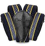 Decalen Hosenträger für Herren breit extra starken Clips Y Form Lang Eine Größe Passt Alle Männer und Damen Verschiedenen Farben (Marineblau Gelb Hellblau)