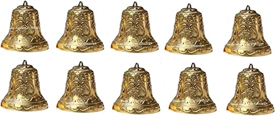 SPHINX Golden Colored Plastic Bells for Crafts/Decoration/Festive Decor (Check Sizes Carefully) - (10, A1.8R)