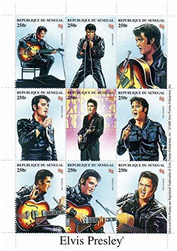 Elvis Presley Briefmarken - Singen und Gitarre spielen - Mint und postKleinBogen mit 1 - Elvis-souvenir