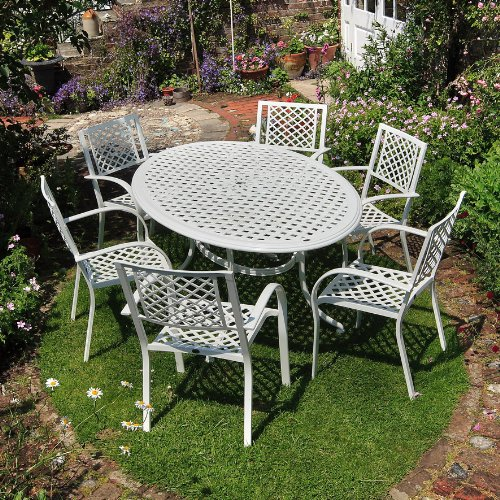 Aluguss Gartenmöbel Set Weiße Nicole 180cm Ovale Gartensitzgruppe Aluminium - 1 Weißer NICOLE Tisch + 6 Weiße MARIA Stühle