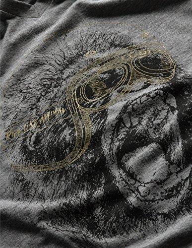 GOM Paris Herren Langarmshirt Crazy monkey / Gris chiné motif or