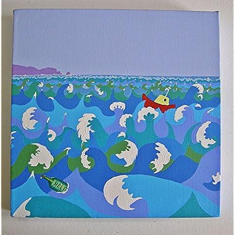 Original pintura acrílica diversión por Alex puntero de paisaje Cornish Artist