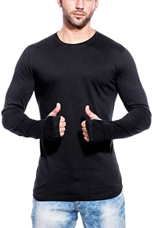 Maniac Mens Fullsleeve Round Neck Black Cotton Tshirt: Amazon.in ...