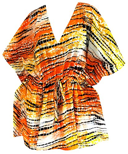 Bademode Baumwolle Kaftan verschleiern Kleid Tunika Top-Badebekleidung Puffärmeln plus Größe Badeanzug Kimono Zeitkleidung Orange | uns: 14w-34w | uk: 16-36