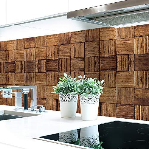 Küchenrückwand Holz Panele Premium Hart-PVC 0,4 mm selbstklebend - Direkt auf die Fliesen, Größe:400 x 60 cm