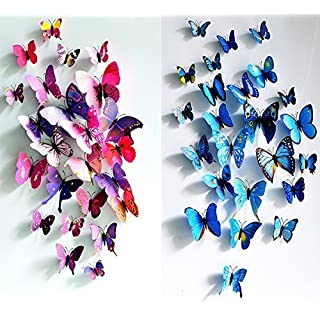 awakink 12PCS Lila und 12PCS Blau 3D Schmetterling Aufkleber Zufallsauswahl Home Dekoration abnehmbare Wandaufkleber Schmetterling für Kinder Zimmer Schlafzimmer Wohnzimmer