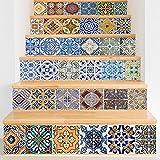 LIU-Selbstklebend 3D Keramik Fliesenmuster Treppenhaus Aufkleber Vinyl Abnehmbar Wasserdicht Treppe Dekoration Wandtattoo Papier , Mehrfarbig