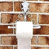 WC Papier Halter, woopower Vintage Eisen WC-Papier Handtuch Rolle Halter Spender Badezimmer Wandhalterung Rack mit Schraube, 3Farben für Wahl, weiß, 21cm(L)x10cm(W)x18(H)cm