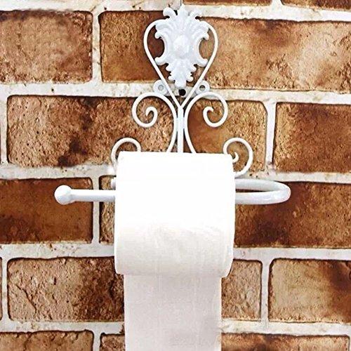 WC Papier Halter, woopower Vintage Eisen WC-Papier Handtuch Rolle Halter Spender Badezimmer Wandhalterung Rack mit Schraube, 3Farben für Wahl, weiß, 21cm(L)x10cm(W)x18(H)cm (Vintage-papier-handtuch-halter)