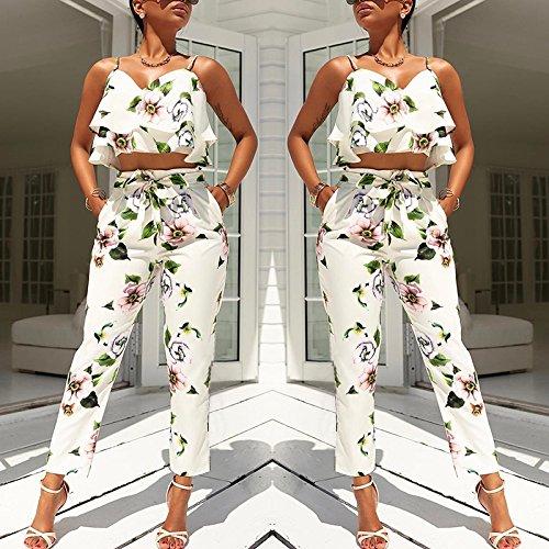Boutiquefeel Damen Volants Spaghetti Strap Blumen Cropped Zwei Stücke Pantsuit Hosenanzug Weiß