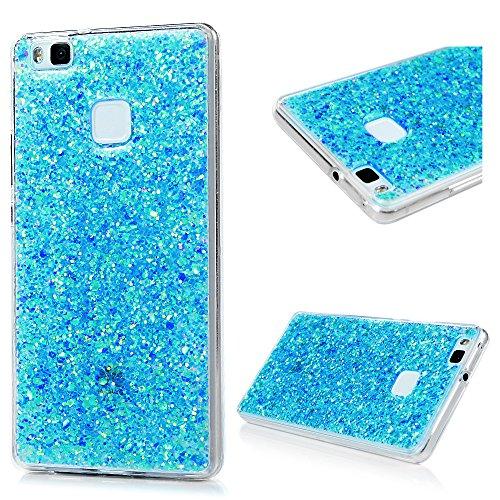 Black Skull Crystal Case (Schutzhülle für Huawei P9Lite, Glitzerdesign, aus Acryl, Rückschale + weichem TPU-Rahmen, ultra dünnes Design, stoßfest blau)
