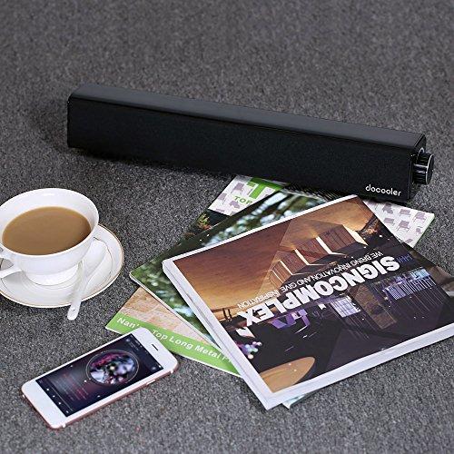 61XPtcCUrXL - Docooler Altavoz Bluetooth 4.0 Barra de Sonido 20W 10W Dual Drivers Deep Bass AUX-IN de Reproducción de Música 4400mAh Incorporado Negro Batería para TV PC Tablets Teléfonos Inteligentes