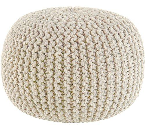 Sweet Needle-Pouf lavorato a maglia stile Dori-ottomano-100% cotone intrecciato cavo-fatto e cucito a mano -veramente unico nel suo genere-50cm di diametro x 35cm di altezza Ivory