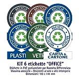 Etichette autoadesive per raccolta rifiuti - KIT OFFICE (MEDIO) - 6 etichette assortite 11x14cm