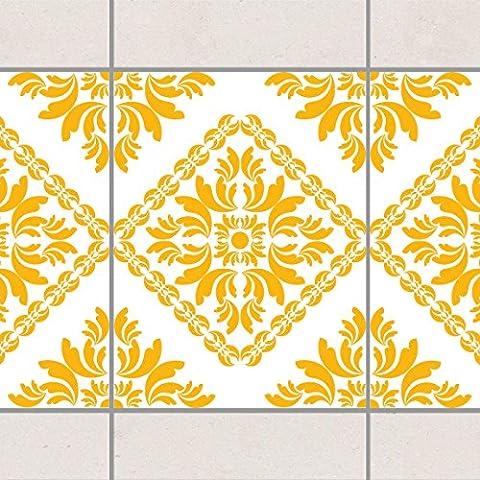 Fliesen Bordüre - Vera Rosa White Melon Yellow 20cm x 15cm, Setgröße:20teilig