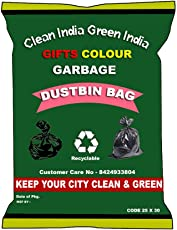 Giftscolour Garbage Bags Size Large 25 Inch X 30 Inch (Black) Pack of 10 (150 Bags)(Trash Bag/Dustbin Bag)
