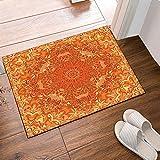 Nyngei Papier peint orange amant vecteur fleur motif tapis de bain anti-dérapant étage entrées intérieure extérieure porte avant tapis 16 x 24 pouces tapis de bain