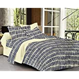 Trance Home Linen 100 % Cotton 200TC Premium Printed King Double Fitted Bedsheet With2 Pillow Covers- Navy Blue Abstract
