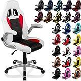 """RACEMASTER® Racing chaise de bureau """"GT Racer"""", accoudoirs pliables, Fauteuil de bureau, couleur blanc / noir / rouge"""
