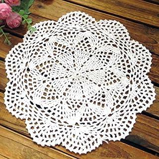 AUFODARA 4Xcarpet mats doily handmade crochet ( 10 inch, White)