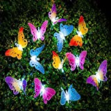 Solar Lichterkette, uxradg 12LED Schmetterling Faser Garten Terrasse Außen wetterfest Outdoor Lichterkette für für Wohnungen, Hochzeit, Cafe, LED Lichterkette 12