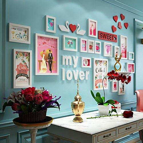 Bilderrahmen*Photo creative combination of wall paintings wedding photo heart-shaped wall photo wall with built-in shelf, all-white 18 Box + built-in shelf + accessories (Karton-heart Shaped Box)