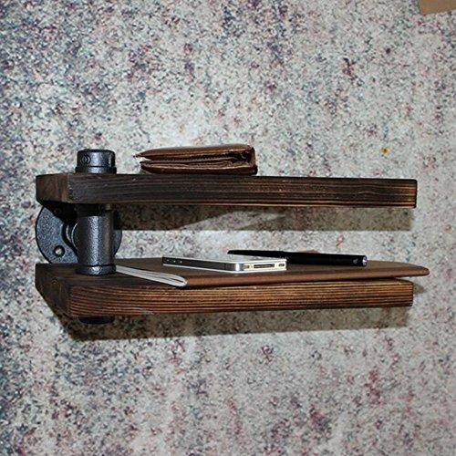 Fei mensole scaffale girevole scaffali in legno massello stile loft scaffali a parete 30 * 20 * 15cm (l * w * h)