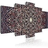 Cuadro en Lienzo 200x100 cm - 3 tres colores a elegir - TOP - lienzo tejido-no tejido - 5 Partes - Cuadro su lienzo tejido-no tejido - Impresion en calidad fotografica f-C-0132-b-o Mandala Oriental Ornamento 200x100 cm B&D XXL