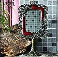 Blansdi barock antik Wandspiegel 33 x 17cm Landhaus Badspiegel Kosmetik bewegliche Spiegel oval Standspiegel Tischspiegel Desktop Mirror