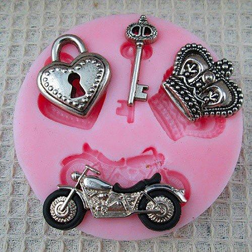 iebe Herz Schlüssel Motorrad Krone Silikon Schokolade Form Seife Fondant Zucker Basteln Backform Kuchen Dekorieren Form Candy Ton Gumpaste Hard Candy Mold Tray Zufällig ()