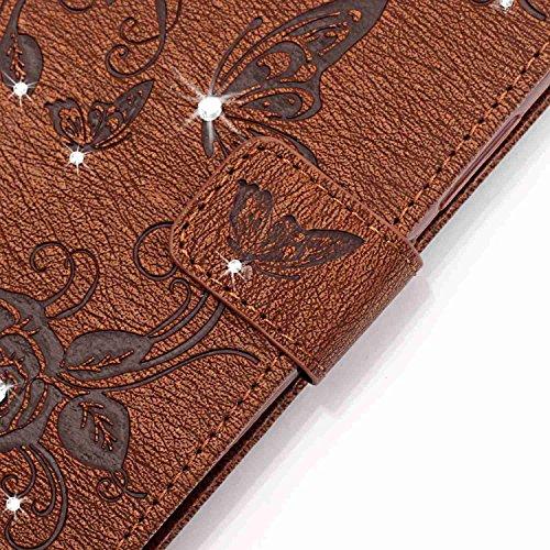 Hülle für Samsung Galaxy S7 Edge Schmetterling,TOCASO Glitter Strass Bling Ledertasche Muster Weich PU Schutzhülle für Samsung Galaxy S7 Edge Flip Cover Wallet Case Tasche Handyhülle mit Lanyard Strap #16#