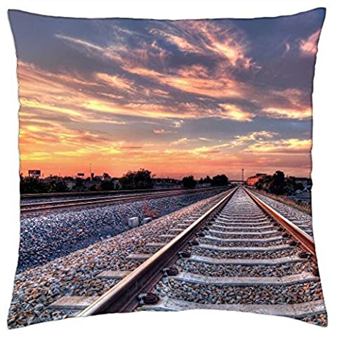 straight train tracks entering a city hdr - Throw Pillow Cover Case (18