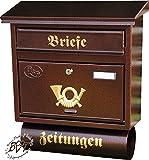 Briefkasten, Premium-Qualität, verzinkt mit Rostschutz FG/c groß in kupfer kupferbraun braun Zeitungsfach Zeitungen Post antik Mailbox Schild