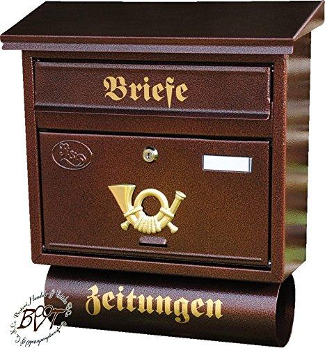 Stabiler Briefkasten, Premium-Qualität, verzinkt mit Rostschutz FG/c groß in kupfer kupferbraun braun Zeitungsfach Zeitungen Post antik Mailbox Schild