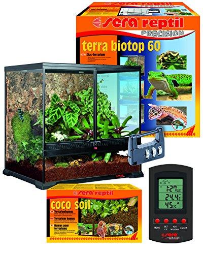 Sera 32000 reptil Terra biotop 60 EIN modernes Glasterrarium 60x60x45cm zur Haltung von Zwerg-Bartagamen, Chamäleons, Frösche, Salamander und Schnecken oder Insekten