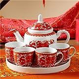 Teetasse,Hochzeit tee Red Keramikbeschichtung Tray Neue haus cup 1 teekanne, 4 tassen-A