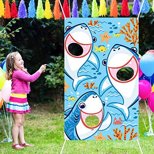 Sitzsack Werfen Spiele mit 3 Sitzsäcken Party Spiele Pack und Dekoration für Baby Kinder Familie Thema Party Gefallen Lieferungen (Blau Hai)