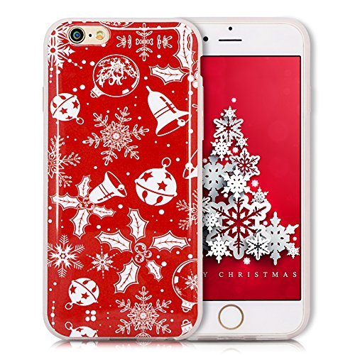 iPhone 6S Plus Hülle, iPhone 6 Plus Hülle, SpiritSun Weihnachten Serie Handy Hülle für Apple iPhone 6 6S Plus (5.5 Zoll) Weich TPU Silikon Schutzhülle Niedlichen Muster Schale Tasche Ultradünnen Trans Weißer Schmetterling