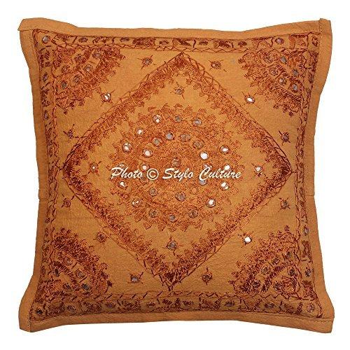 Stylo Culture Indio Mirror bordado de algodón Arrojar la almohada Cubrir Marrón...
